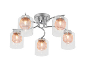 Argo 5 Light Semi flush fitting, polished chrome frame